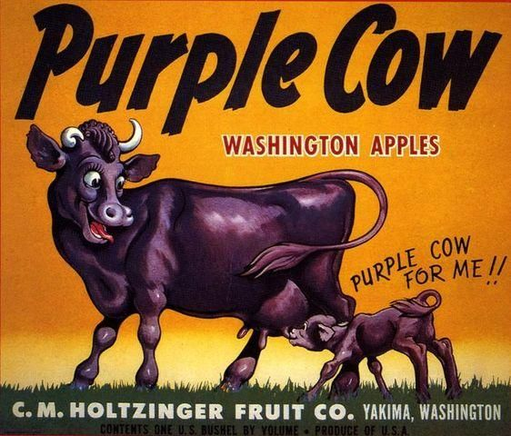 Yakima, Washington Purple Cow  Apple Crate Label Art Print