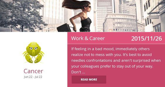 Cancer work & career horoscope for 2015/11/26. Is it accurate? Pin=Yes | Favorite=No