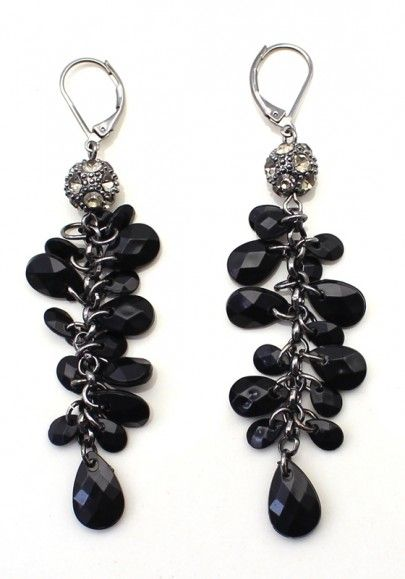 Exquisite Black Rhinestone Tassel Dangle Earring