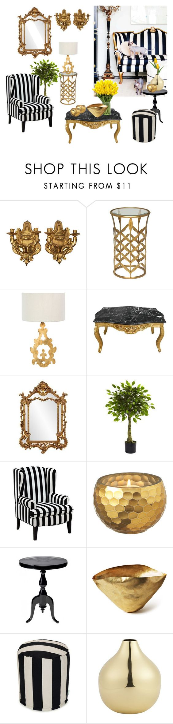 """""""Modern Baroque"""" by dezaval ❤ liked on Polyvore featuring interior, interiors, interior design, home, home decor, interior decorating, Maitland-Smith, Howard Elliott, Nearly Natural and Universal Lighting and Decor"""