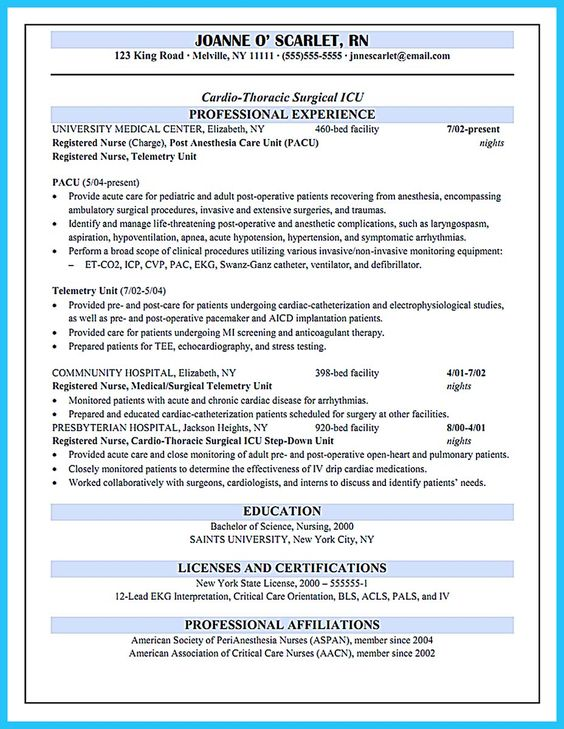awesome high quality critical care nurse resume samples