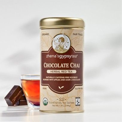 This is a very nice but light chocolate chai. Very aromatic, no calories, caffeine free and high in antioxidants. Add a splash of milk or half and half and you have a nice desert in a cup. Yum!