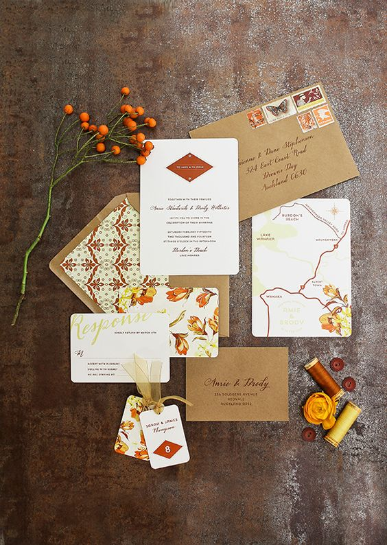 Fall brown wedding invitations #weddinginvitations