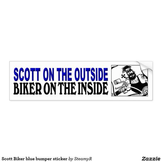 Scott Biker blue bumper sticker