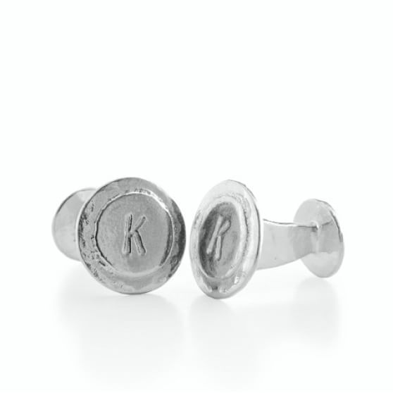 hammered silver initial cufflinks