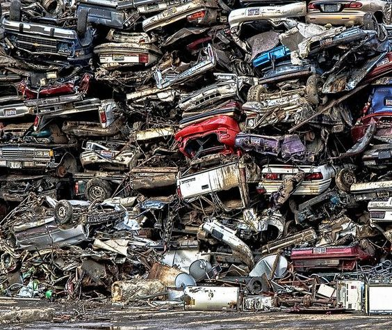 Taken in November 2009, this photograph, with its twisted and torn subject matter, represents part of the United States' economic stimulus programme known as Car Allowance Rebate System (CARS) - or Cash for Clunkers.