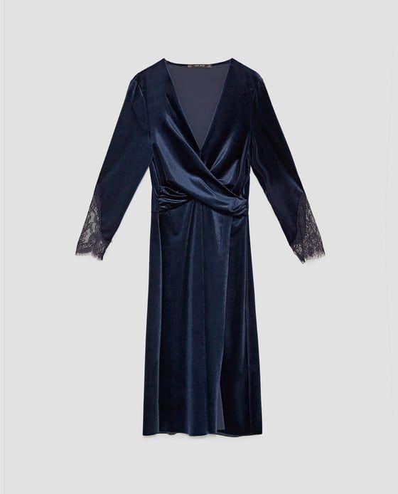 robe en velour croise zara