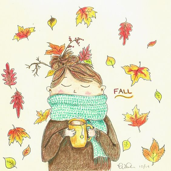 So happy to be back where there are four seasons! Follow me on Instagram @mmmtogo #Fall #drawing #illustration #leaves #colored pencils