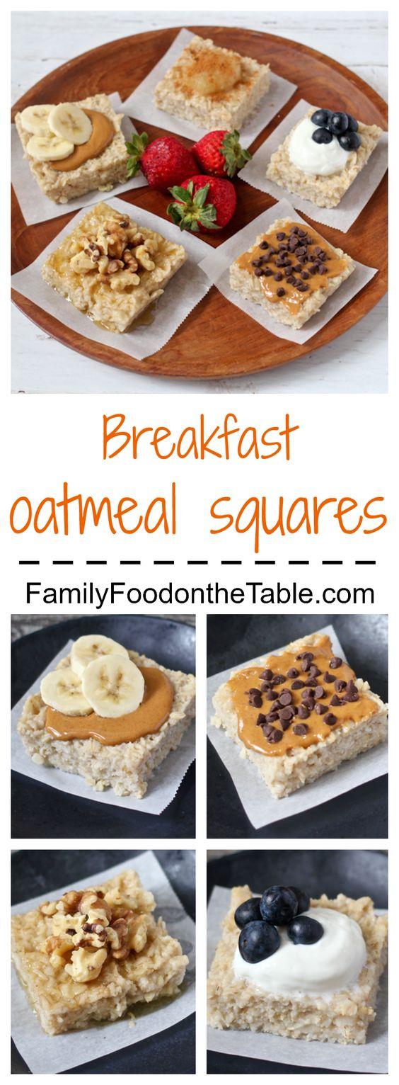 Breakfast oatmeal squares - an easy, make-ahead, customizable breakfast! | FamilyFoodontheTable.com