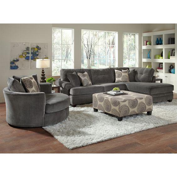 American Signature Furniture Sectionals #15: American Signature Furniture - Grey Cordoba 2 Pc. Sectional U0026amp; Round Love Seat