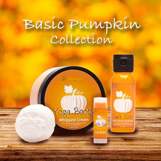 ENTIRE Basic Pumpkin Collection $21.03 Save 10% off all 4 full-sized Basic Pumpkin products, when purchased together. Limited Stock.  CAN'T EVEN OCD Hand Sanitizer  SELFIE STICK Lip Balm  THE OG Bath Bombs (set of 5) YOGA BOOTY Whipped Cream: