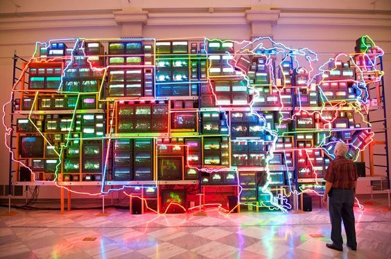 """Installation at the National Portrait Gallery"" by Tom Bluett, via Flickr. #photography #lighting #installations #art #colours #screens #tom_bluett"