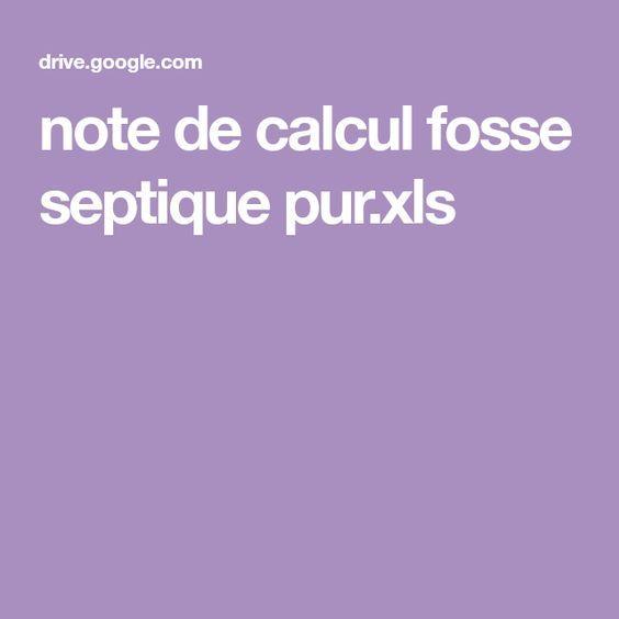 Note De Calcul Fosse Septique Pur Xls