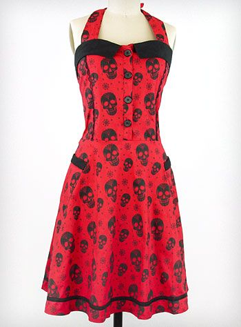Dead-Red Skull Halter Dress | PLASTICLAND