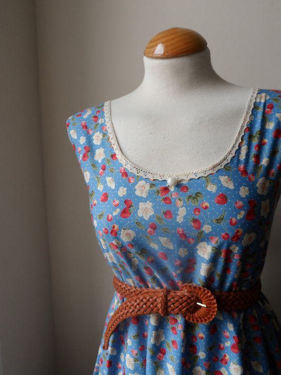 Jennifer Lilly Handmade Cornflower Blue Strawberry Dress, $40.00