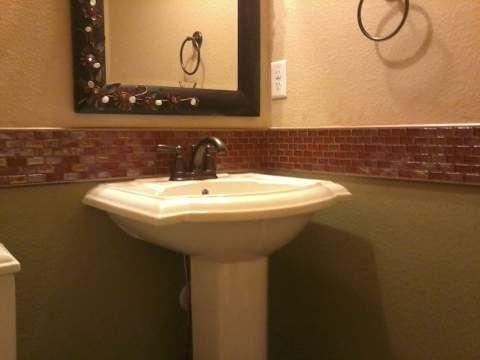 Bathroom chair rail reddish color glass 1 x2 tile with for Chair rail ideas for bathroom