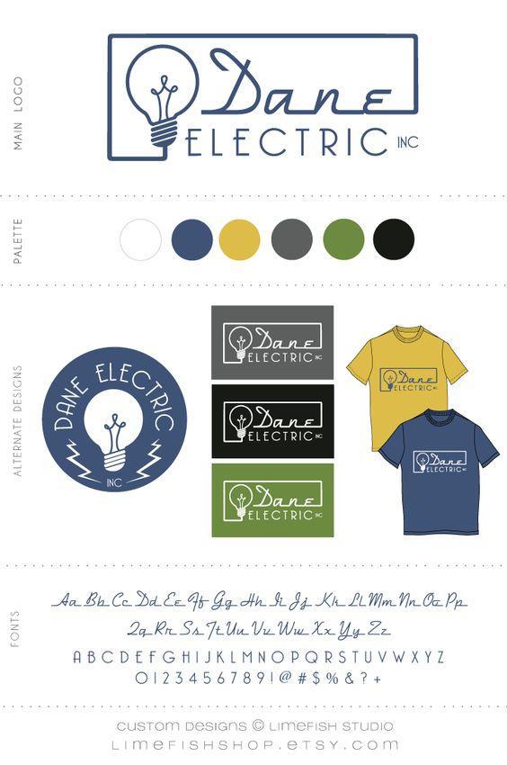 Limefish Studio: Custom Logo + Branding :: Dane Electric Inc. :: Light Bulb Logo :: Electrician Logo