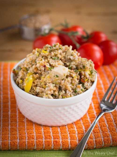 This summer salad recipe is loaded with chicken, whole grains, and vegetables. Perfect meal for a warm day!