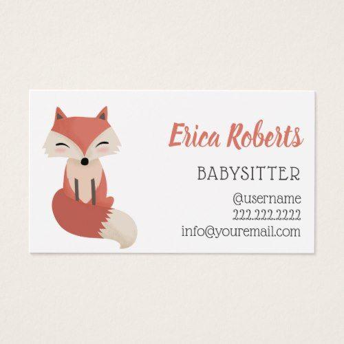 Babysitter Cute Little Fox Babysitting Service Business Card