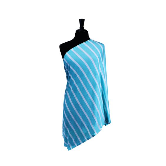 This infinity scarf transforms into a nursing cover! Love the Turquoise Stripe - #PNshop