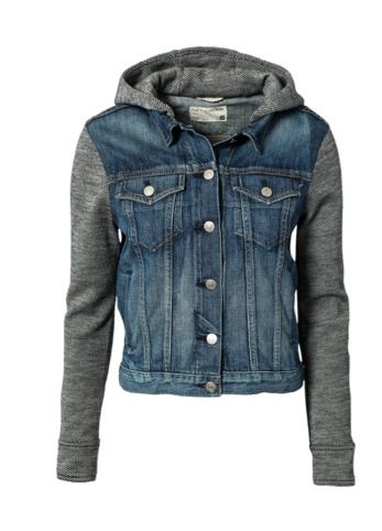 Use an hooded sweat shirt and sew into a jean jacket...remove ...