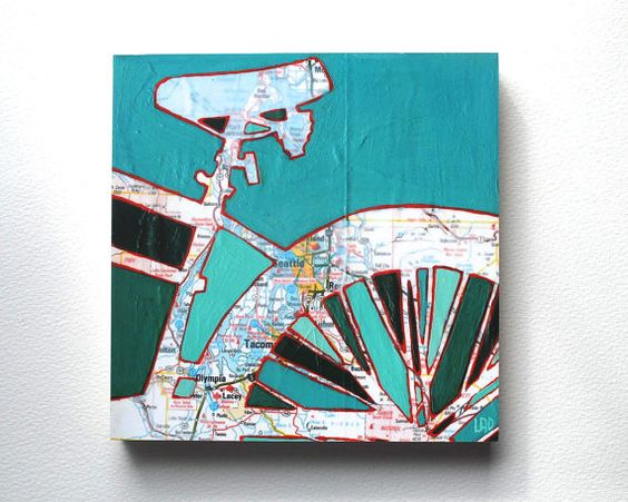 Bike Seattle mounted print - Seattle, Tacoma, Olympia, Lacey, Washington bicycle art mounted to wood
