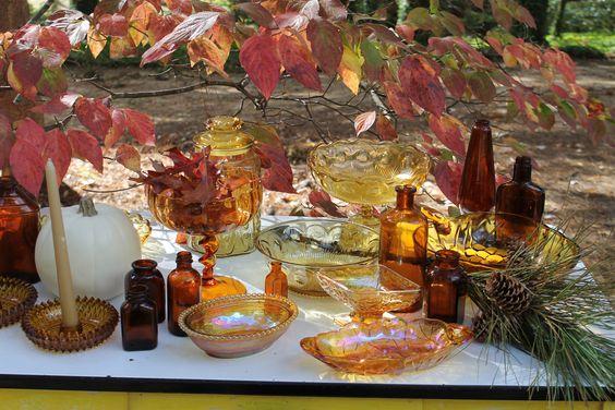 Southern Vintage Wedding Rentals- amber glassware