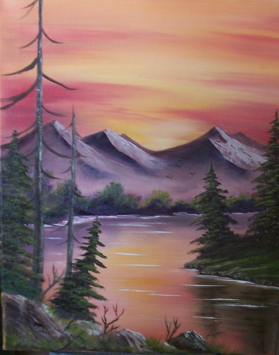 Sunset Mountain paintings for sale, classes www.paintwithvicki.com  an original by Vicki