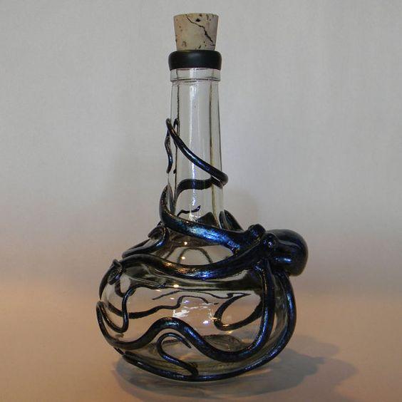 Deep Blue Basalt Kraken Flask Octopus Sculpture by by Elstwhen, $235.00