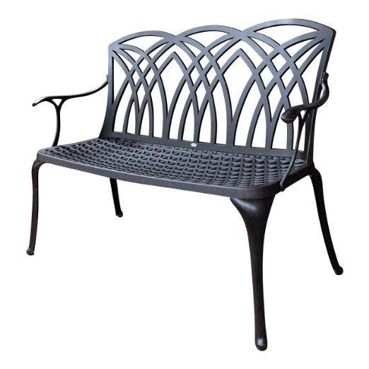 Lazy Susan Furniture April Metal Garden Bench Antique Bronze No Cushion Balkong