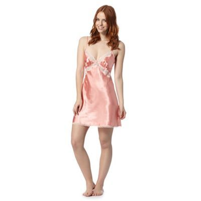 Presence Peach satin lace chemise- at Debenhams.com