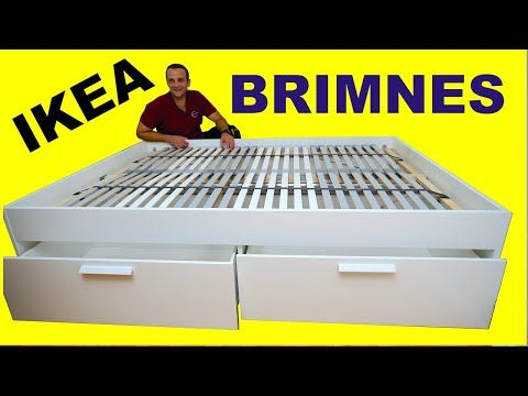 Ikea Brimnes Bed Frame With Storage Standard Double Assembly Instructions Youtube In 2020 Bed Frame With Storage Brimnes Bed Ikea