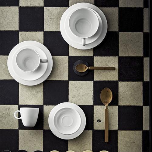 Bavero Espresso Cup Saucer Copper Band Set Of 2 By Achille
