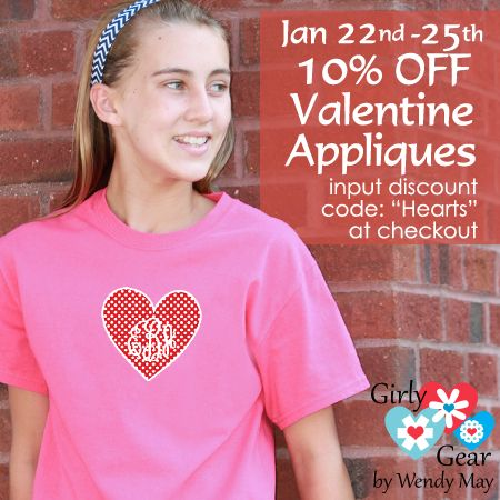 """We """"heart"""" a sale!  10% off Valentine's Day appliques w/monogram from 1/22-1/25!  Enter code """"hearts"""" at checkout!  www.girlygearshop.com"""