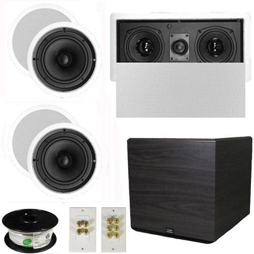 "5.1 Home Theater 6.5"" Speaker Set with Center, 15"" Powered Sub and More TS65CL51SET8 by Theater Solutions. $411.99. Specifications4 TS65C In Ceiling/Wall Speakers6.5"" Woven Kevlar Driver with 32-20,000 Hz Range200 Watts RMS and 400 Watts Max per pair92dB SensitivityCeiling Cut Out Size is 7.875""Overall Measurement is 9.5""Mounting Depth is 2.875""1 TSLCR5 In Ceiling/Wall Center ChannelDual 5.25"" Woven Kevlar Drivers with Rubber Surround100 Watts RMS and 200 Watts..."