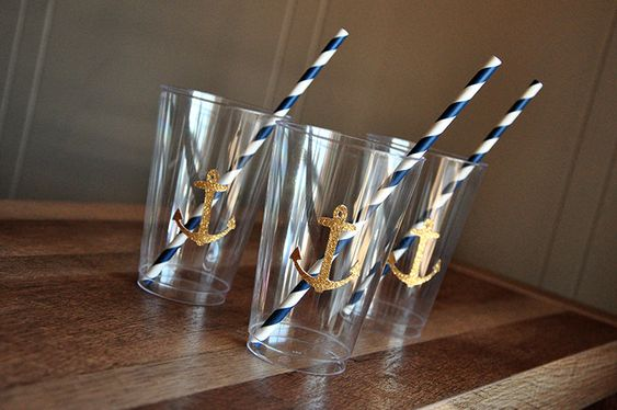 Nautical Baby Shower Cups. Ships in 2-5 Business Days. Set of 10 Party Cups.