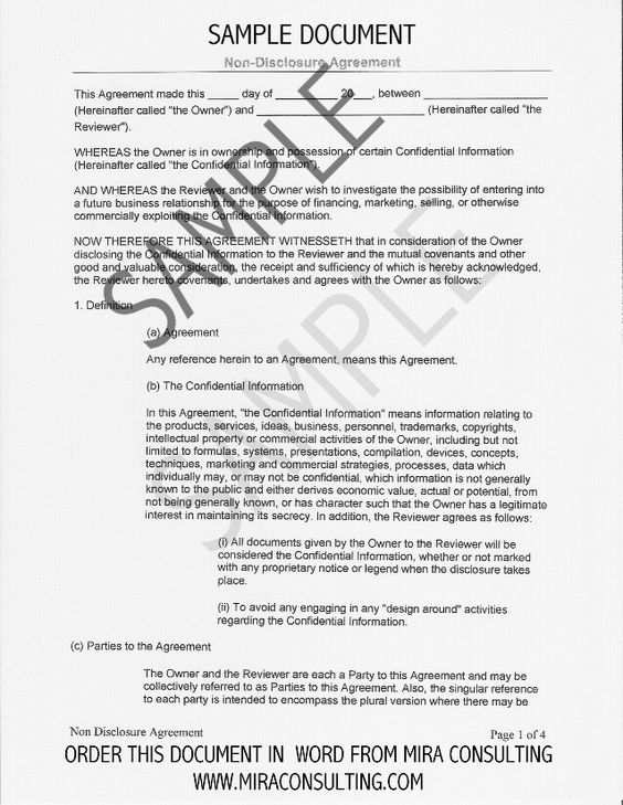 Sample Non-Disclosure Agreement Form Template Startup Legal - mutual confidentiality agreement