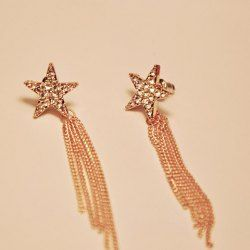 $3.47 Pair of Brilliant Exquisite  Rhinestone Embellished Five-Pointed Star Long Tassels Alloy Earrings For Women