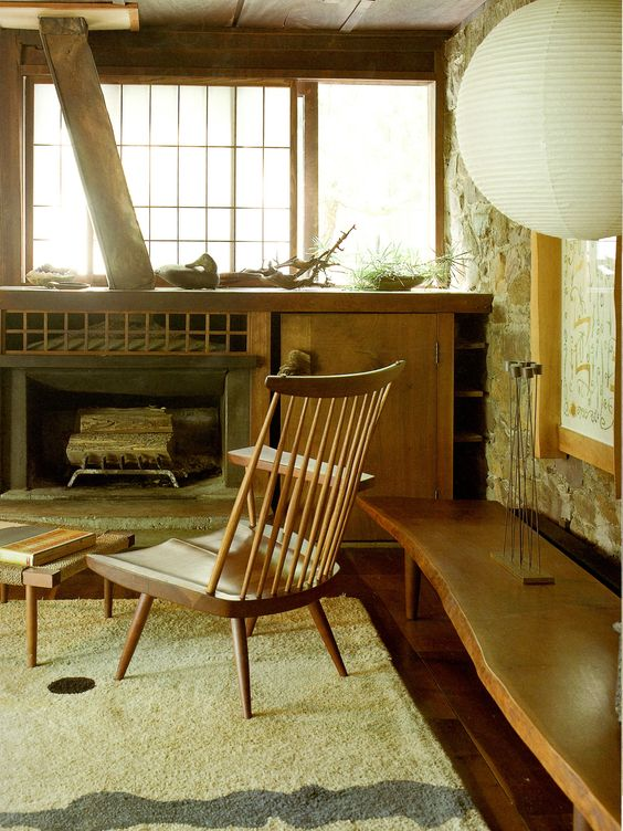 top of sideboard......and/or storage unit @ ~ 50 high..........George Nakashima New Hope Pennsylvania
