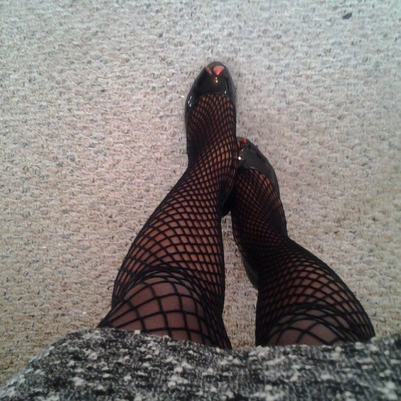Looking down in fishnets