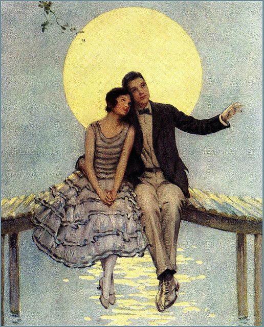 vintage moon art: