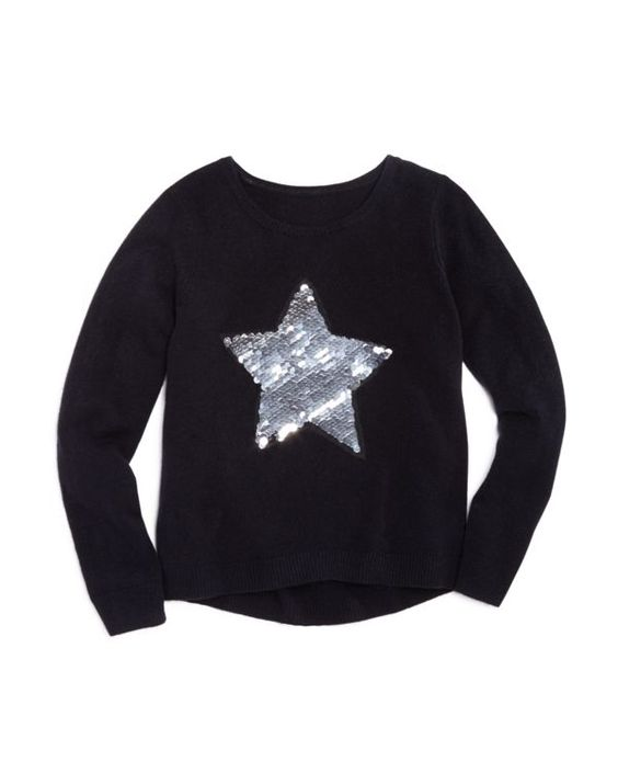 Bloomie's Girls' Sequined Star Sweater - Sizes 2-6X