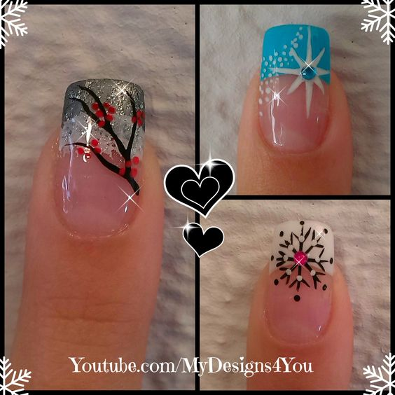 Christmas Nail Designs With White Tips: 3 Winter French Tip Nail Designs