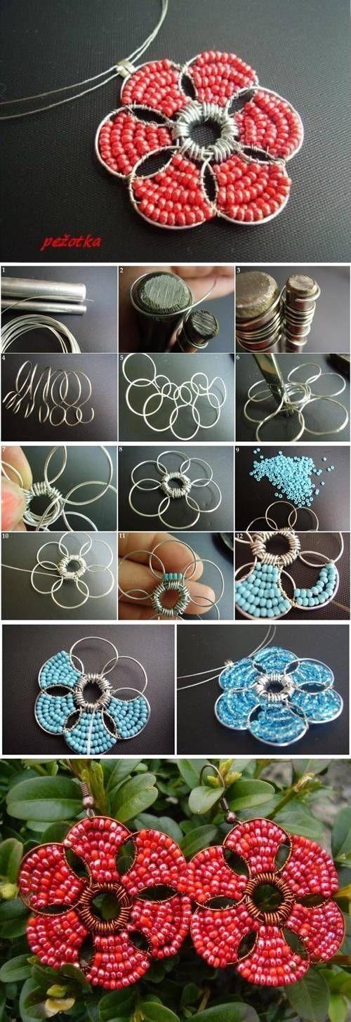 Fleur avec du fil en metal&des perle
