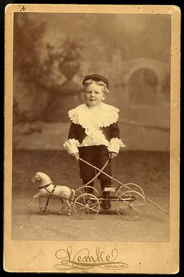 Antique Boy with Toy Horse and Wagon Ride on or Pull Toy Cabinet Photo CA 1890 | eBay: