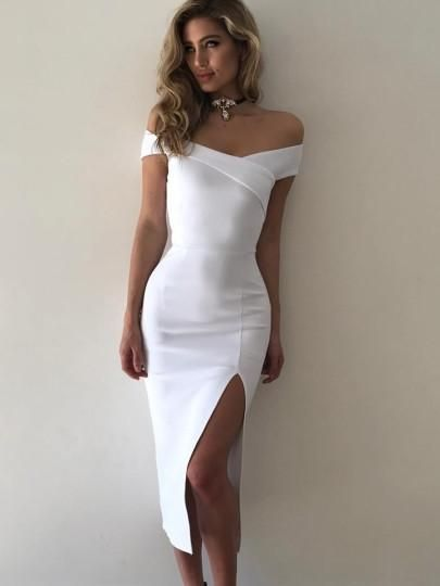 Slash Neck Split Women's Maxi Dress