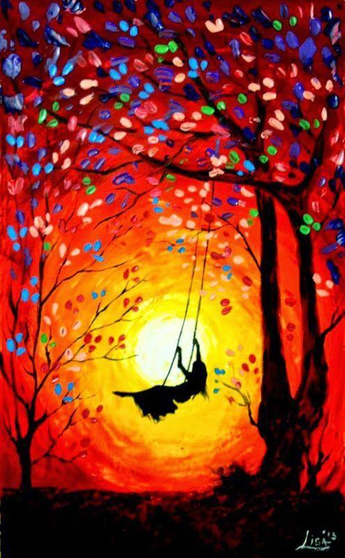Hedendaags Origineel schilderij, kleurrijke acryl Wall Art Paletmes, fel TY-75