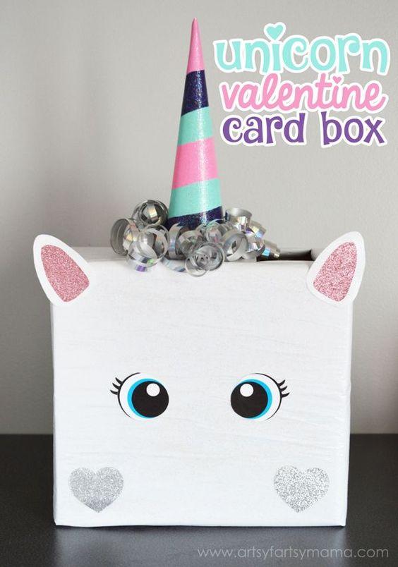 DIY Unicorn Valentine Card Box! See more adorable DIY Valentine Box Ideas on www.prettymyparty.com.