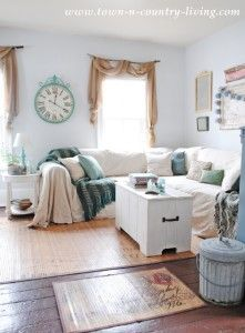 Easy No Sew Drop Cloth Slipcovers on a Sectional Sofa