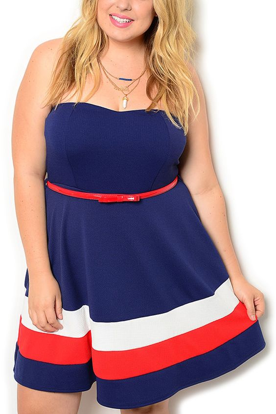 http://www.dhstyles.com/Navy-Red-Plus-Size-Classy-Strapless-Fit-and-Flare-p/libi-5248x-navy-red.htm